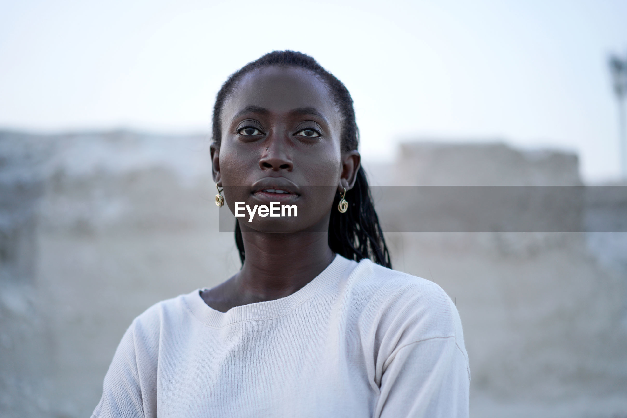 Portrait of the black woman on the beach