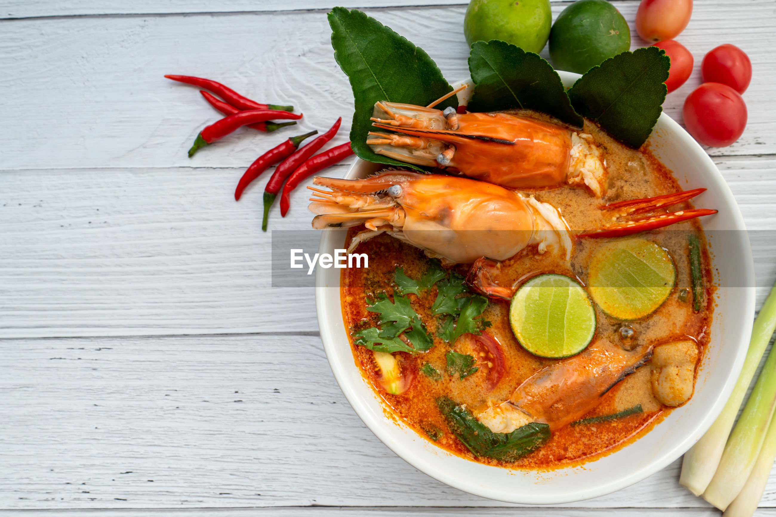 Tom yum soup. tom yam kung is a thai spicy soup with shrimps, lemongrass,lime, ginger, galangal.