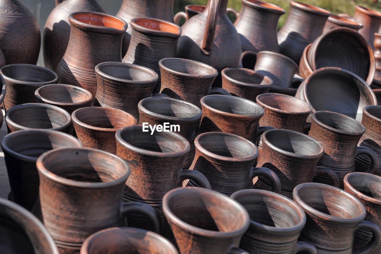 Full frame shot of potteries for sale at market