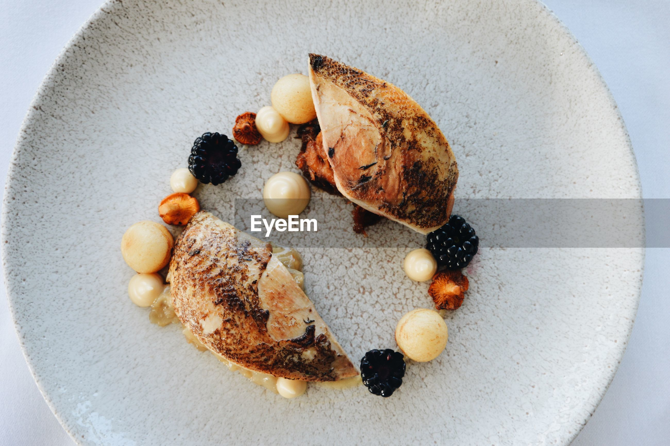 Directly above shot of food in plate on table