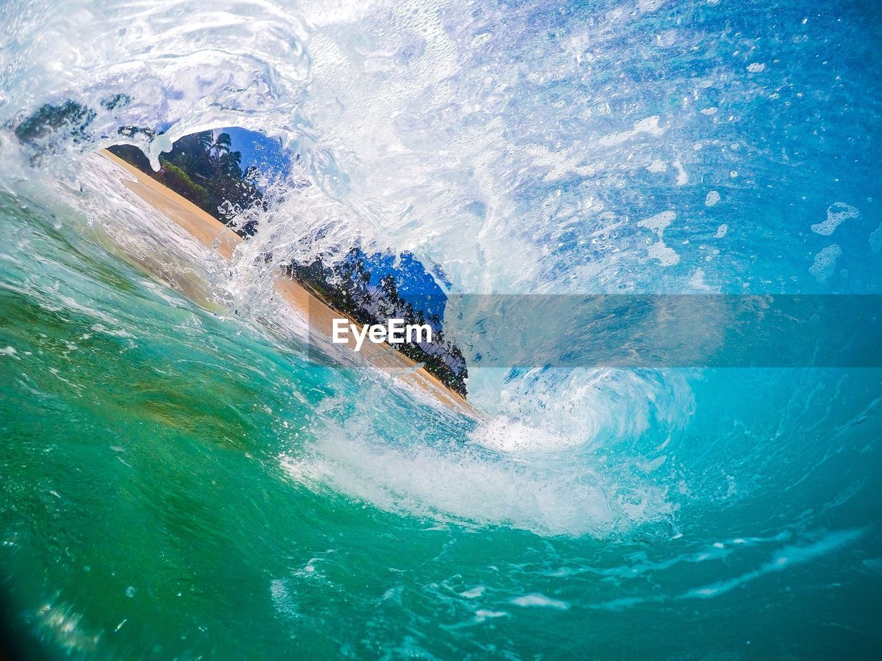 Waves Splashing And Crashing In Sea
