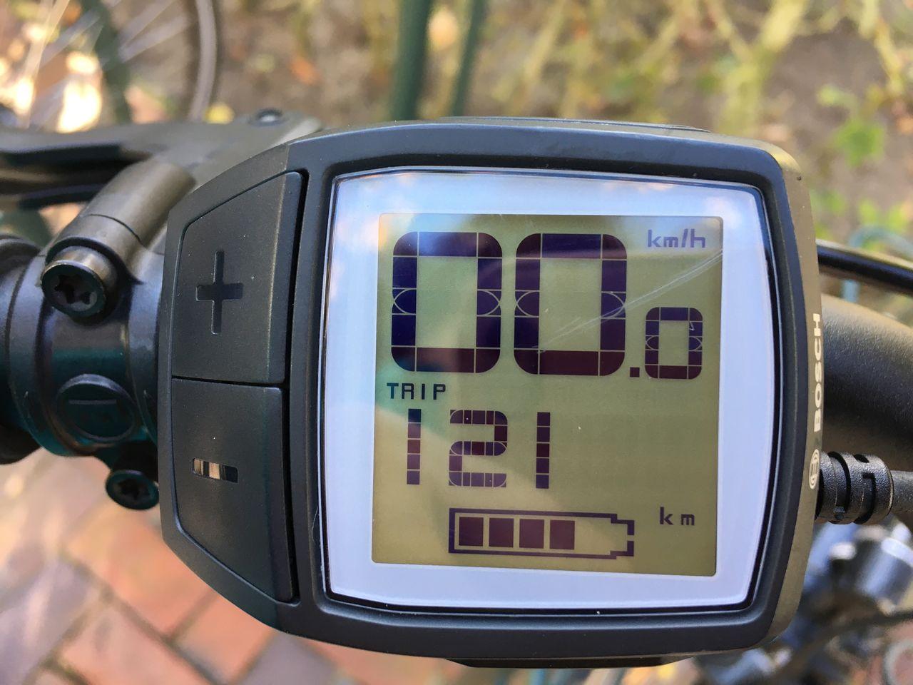 Close-up of tachometer