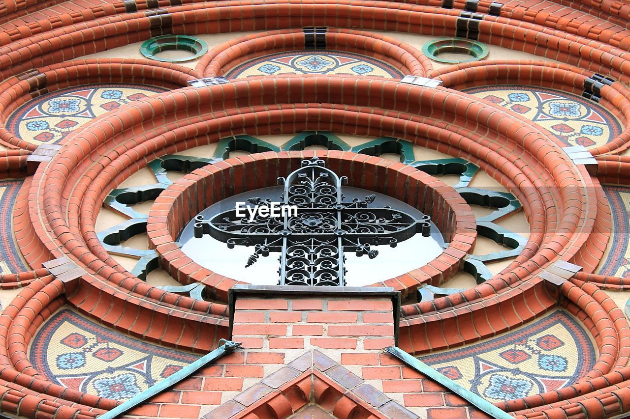 Low angle view of old church window