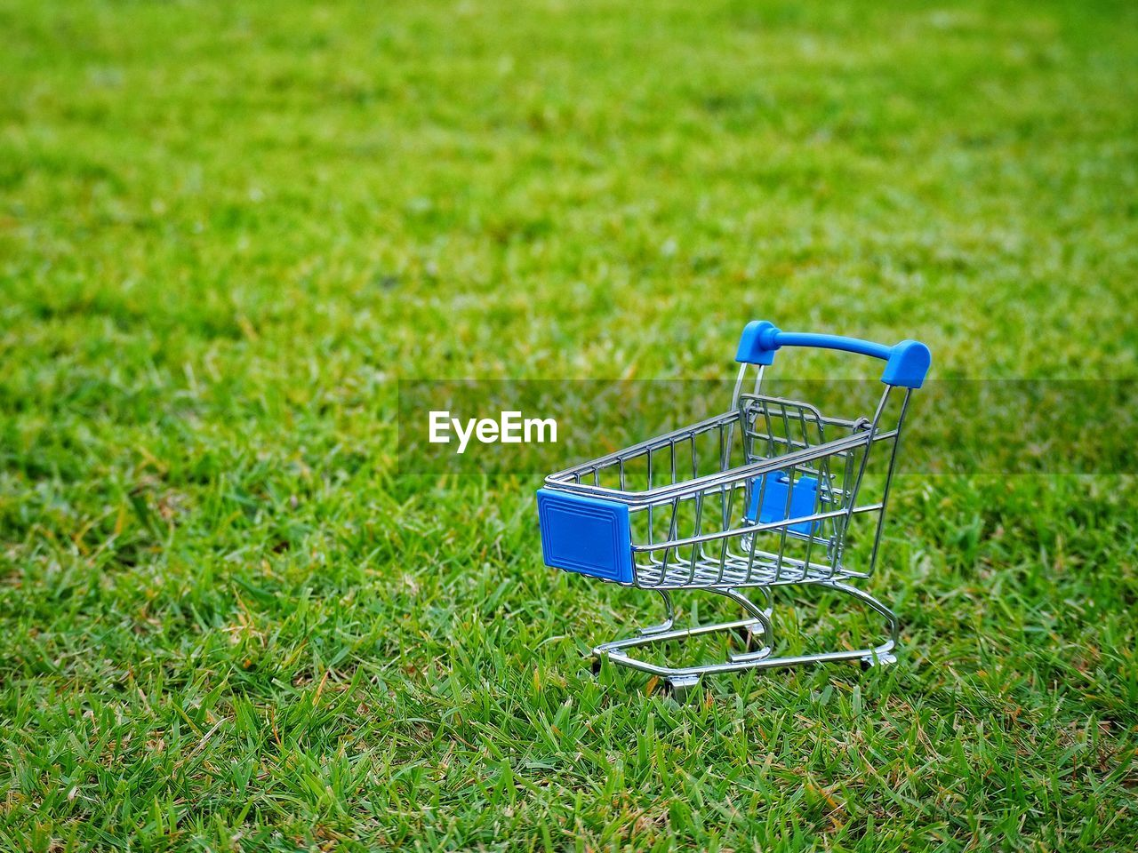 grass, shopping cart, green color, plant, field, blue, no people, land, nature, shopping, day, outdoors, metal, growth, consumerism, plain, retail, trolley, single object, absence