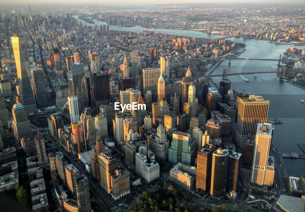 Aerial View Of Manhattan And East River