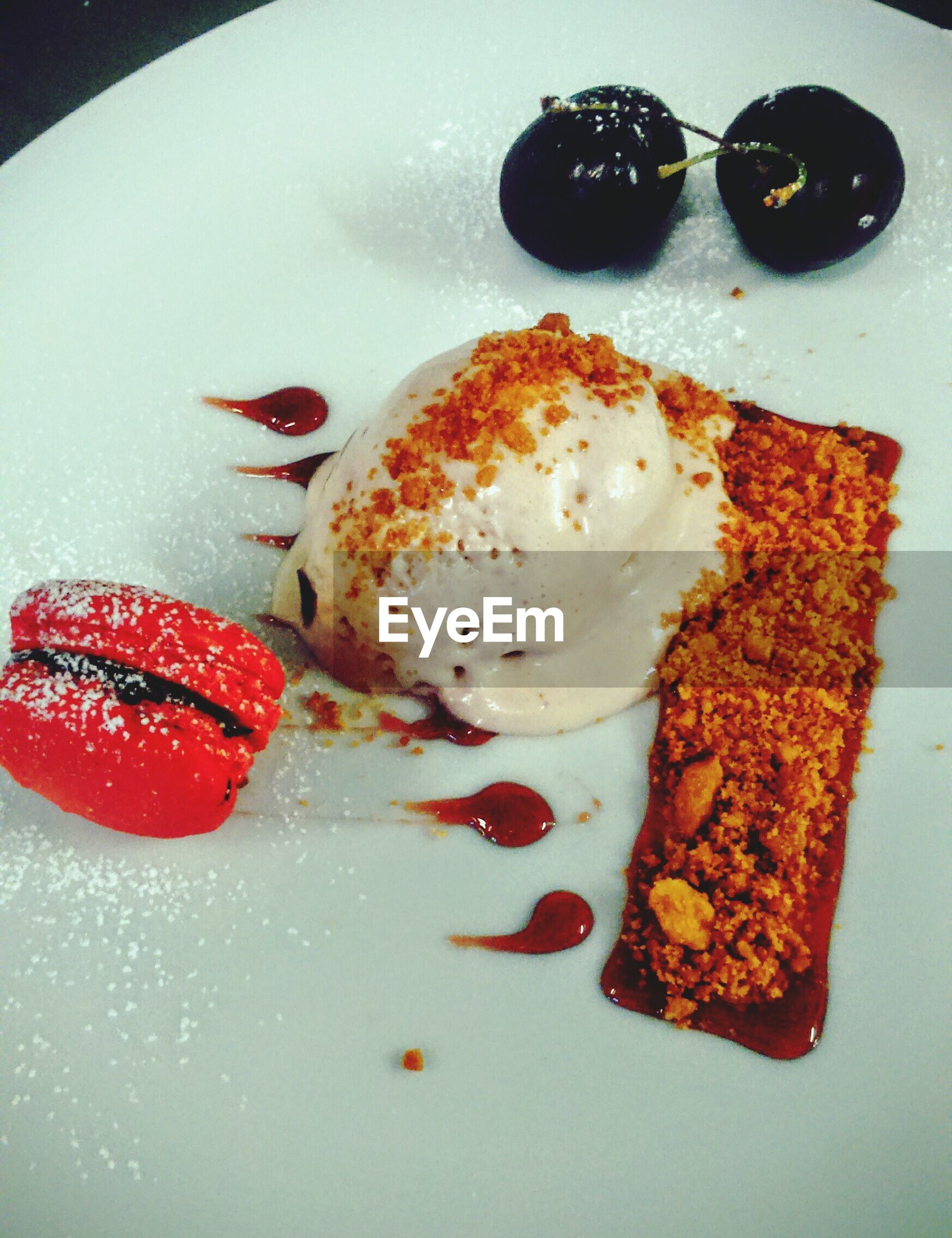 High angle view of dessert served on plate