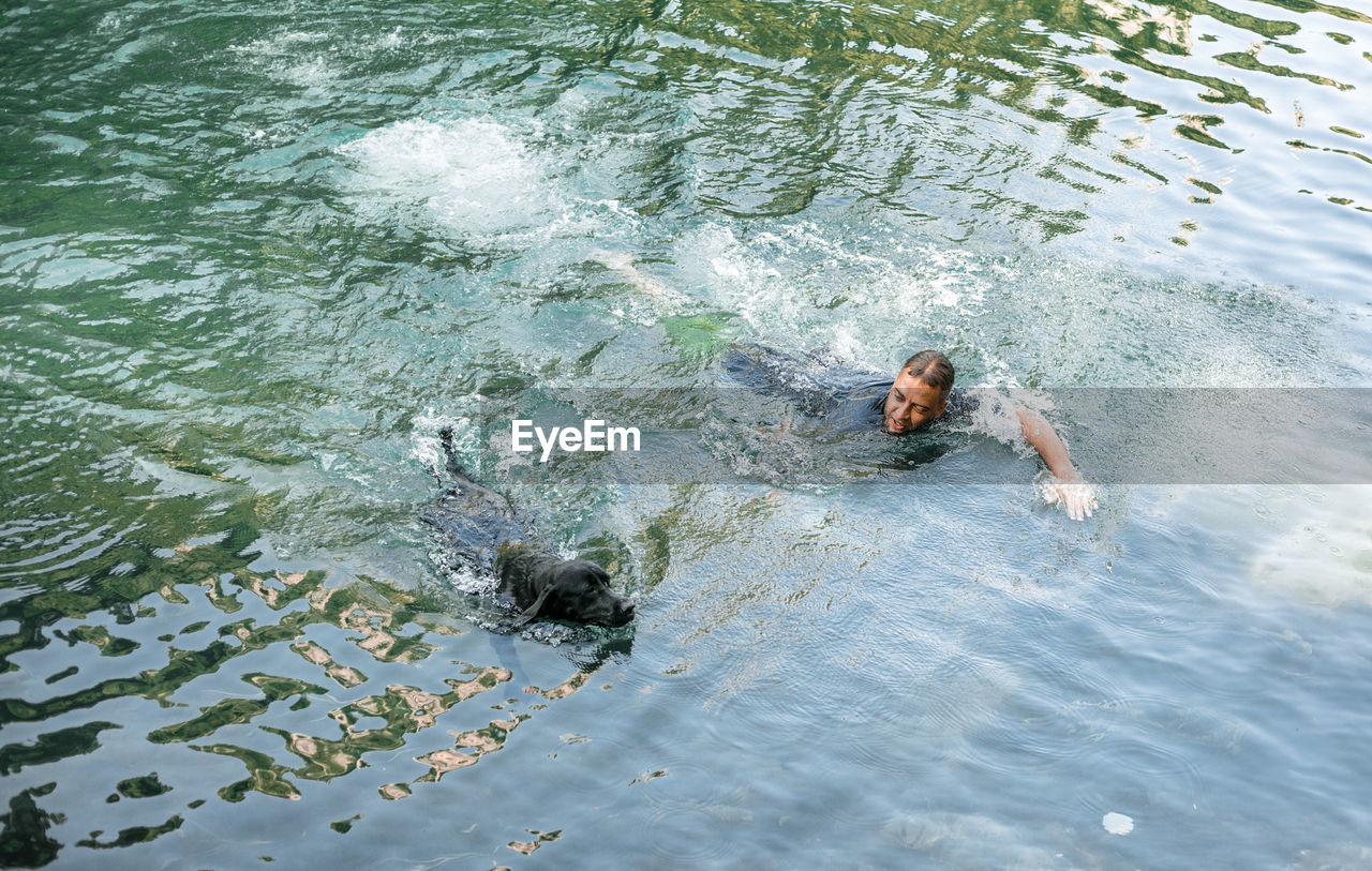 HIGH ANGLE VIEW OF SWIMMING UNDERWATER IN SEA