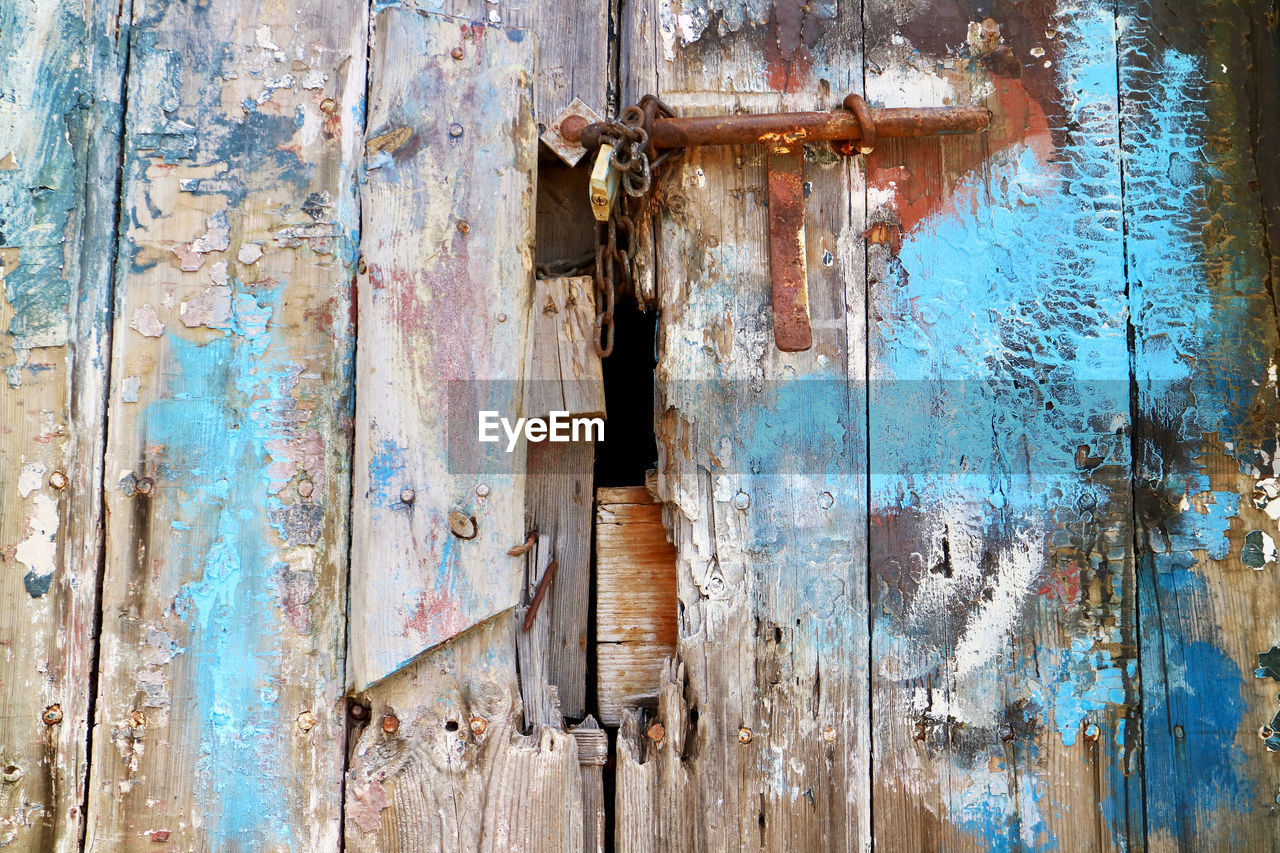 Close-Up Of Old Weathered Wooden Door