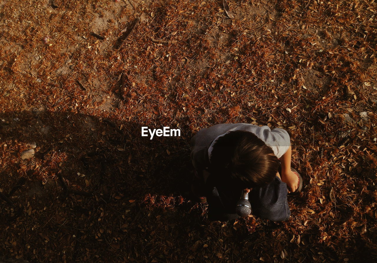 Directly Above Shot Of Boy Holding Microphone While Crouching On Field