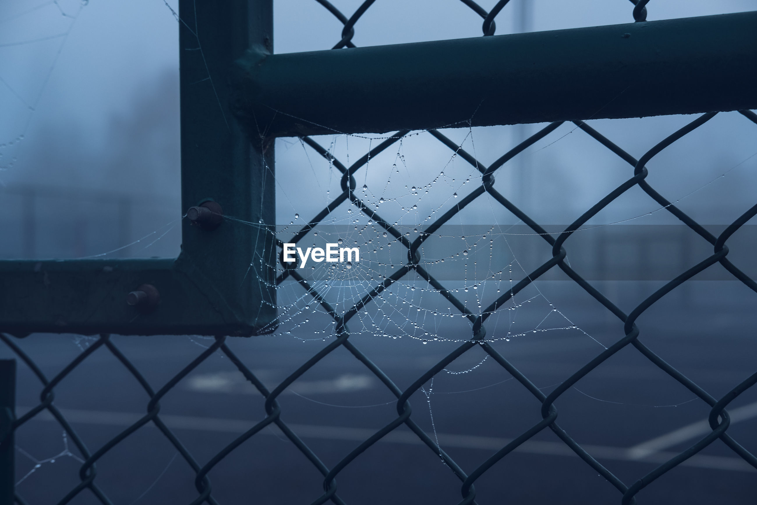 CLOSE-UP OF CHAINLINK FENCE AGAINST BLUE SKY DURING RAINY DAY