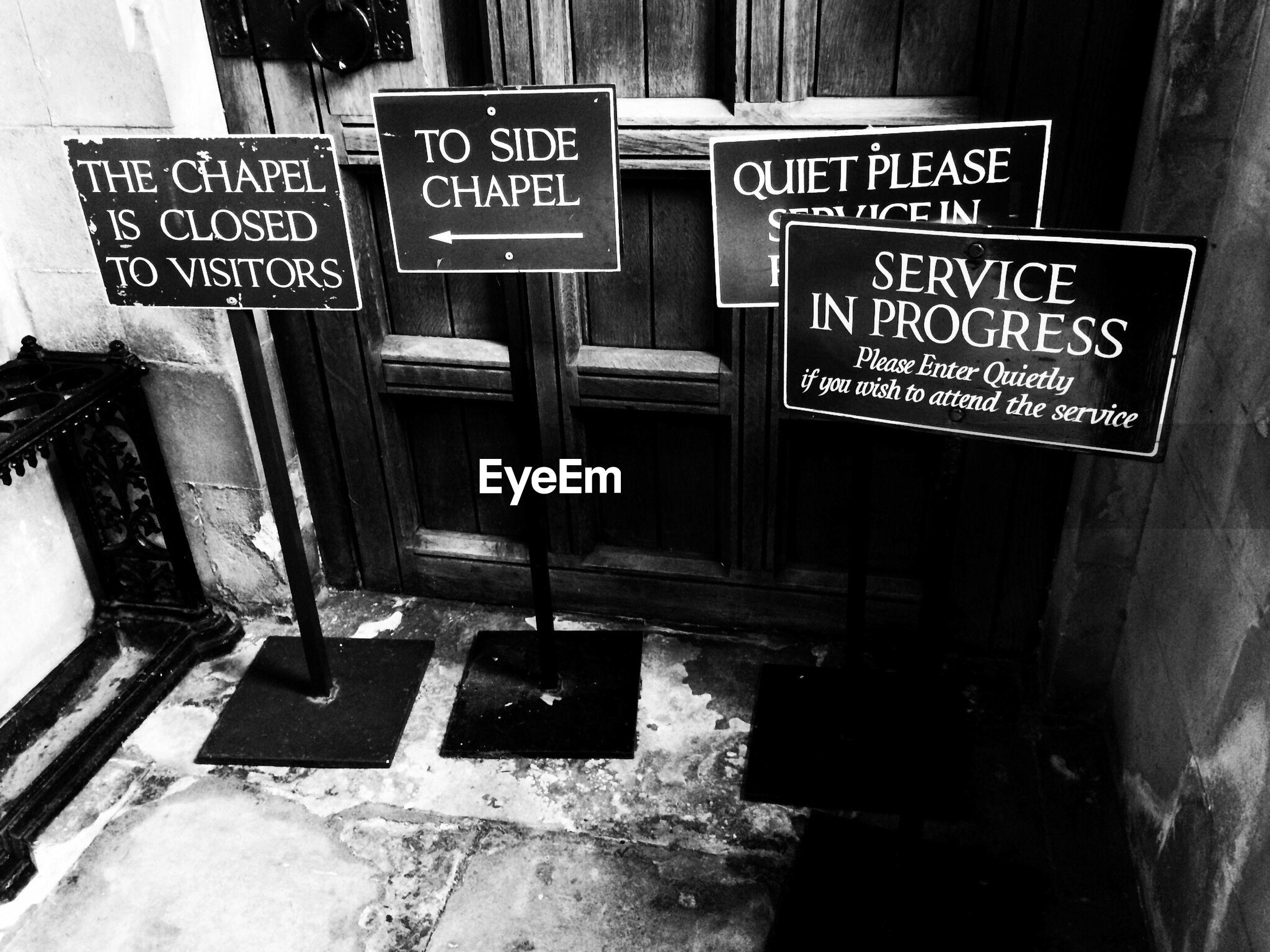Information signs in front of door