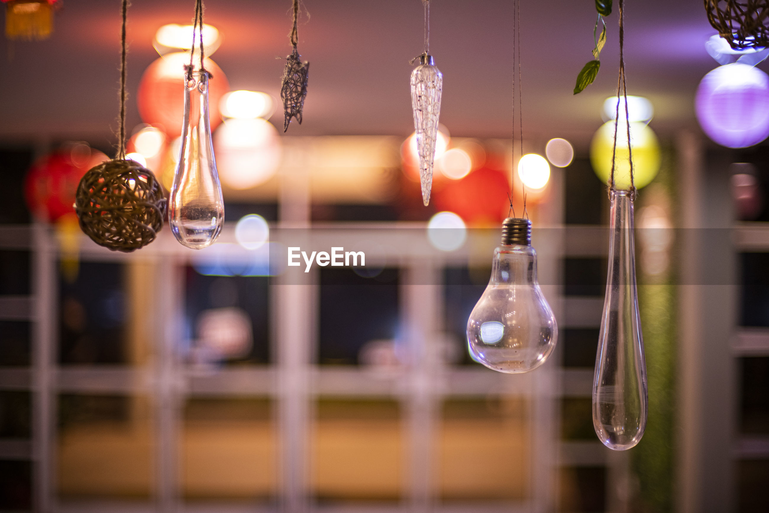 Close-up of light bulbs hanging