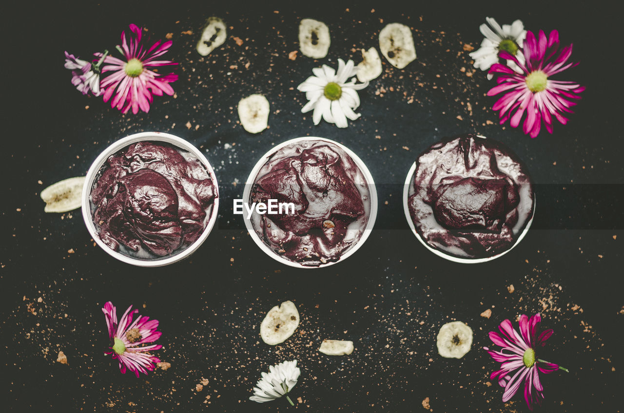 High Angle View Of Food Over Black Background