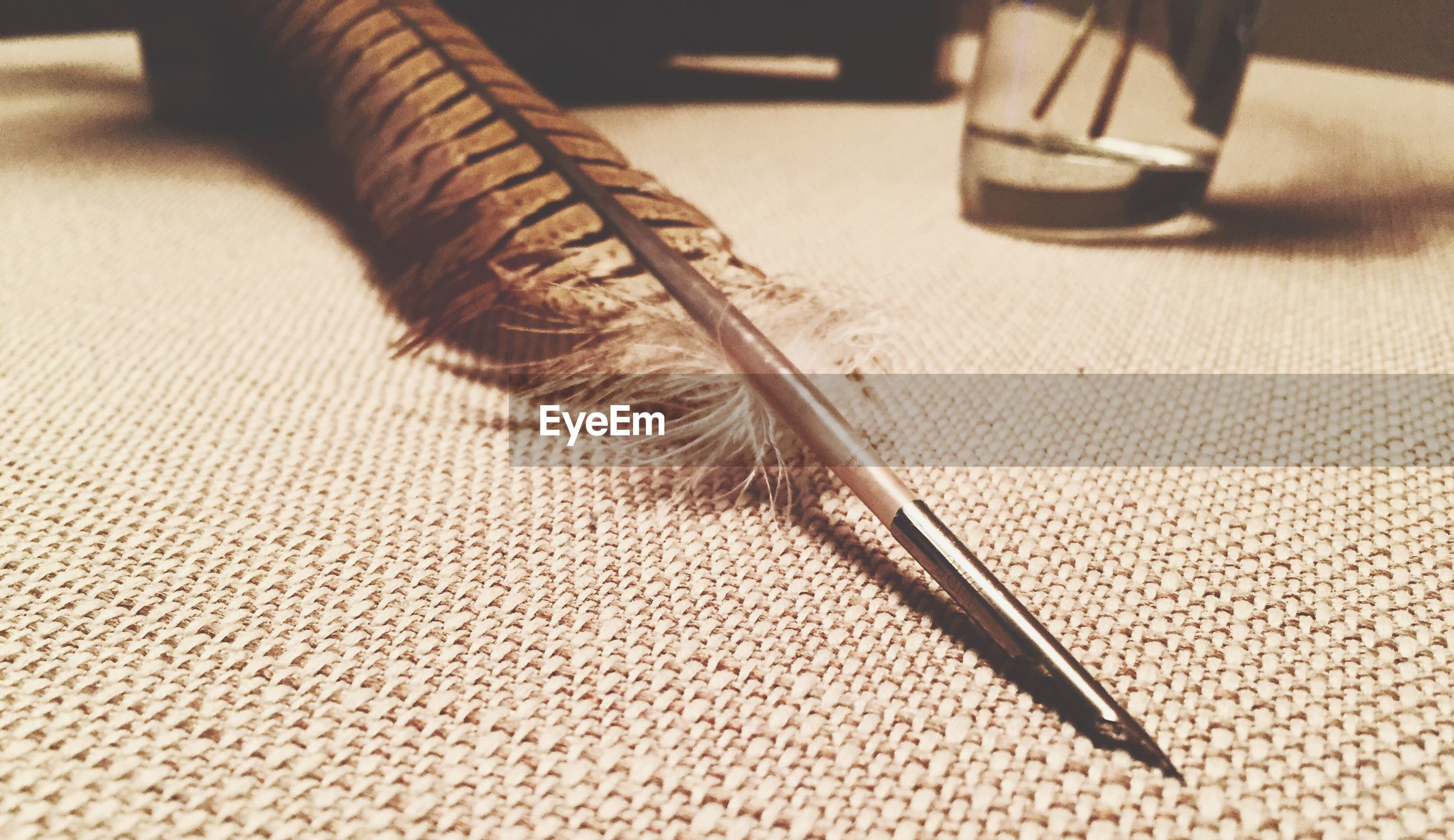 Close-up of quill pen on table