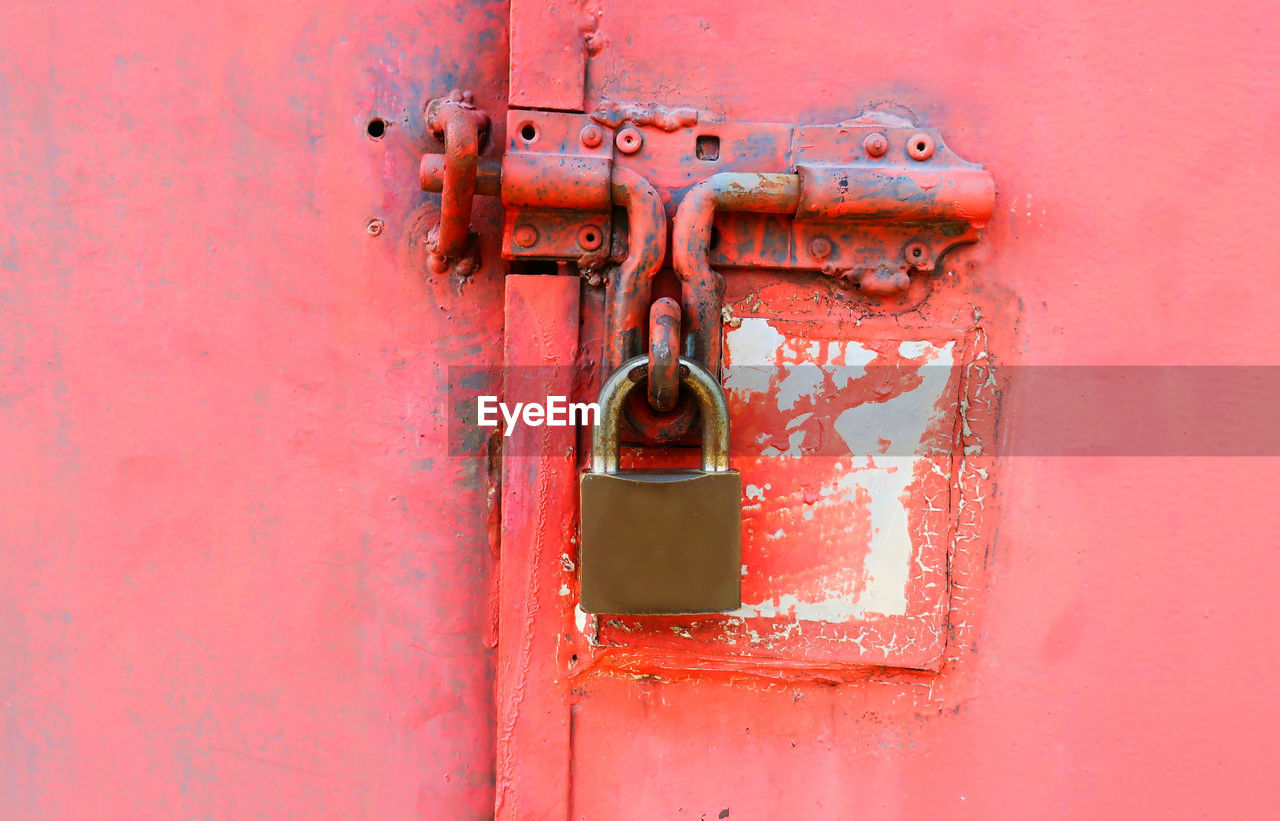 safety, security, protection, door, lock, entrance, metal, red, padlock, no people, closed, wall - building feature, day, close-up, latch, old, connection, outdoors, built structure, rusty