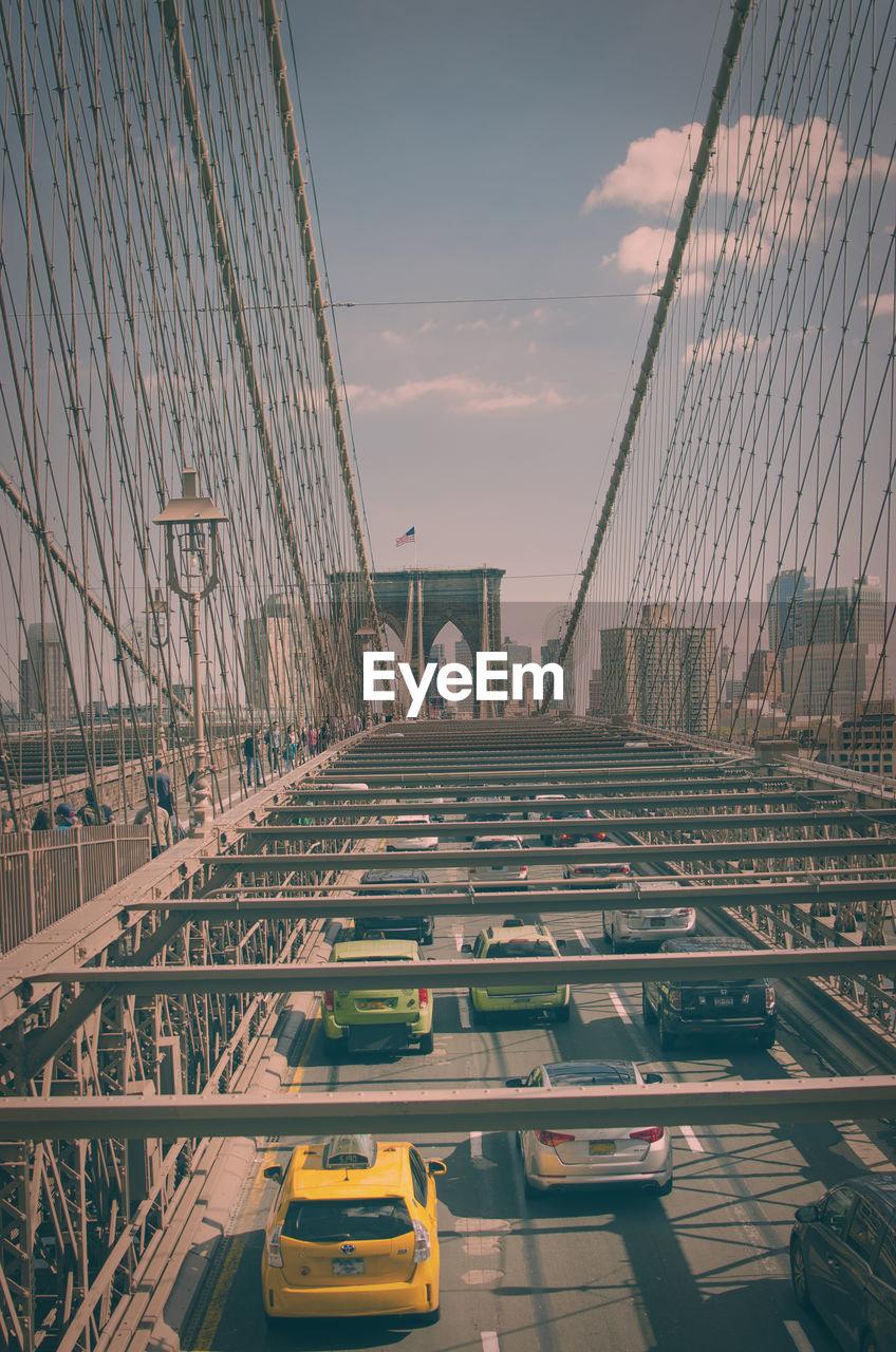 High Angle View Of Brooklyn Bridge Against Sky