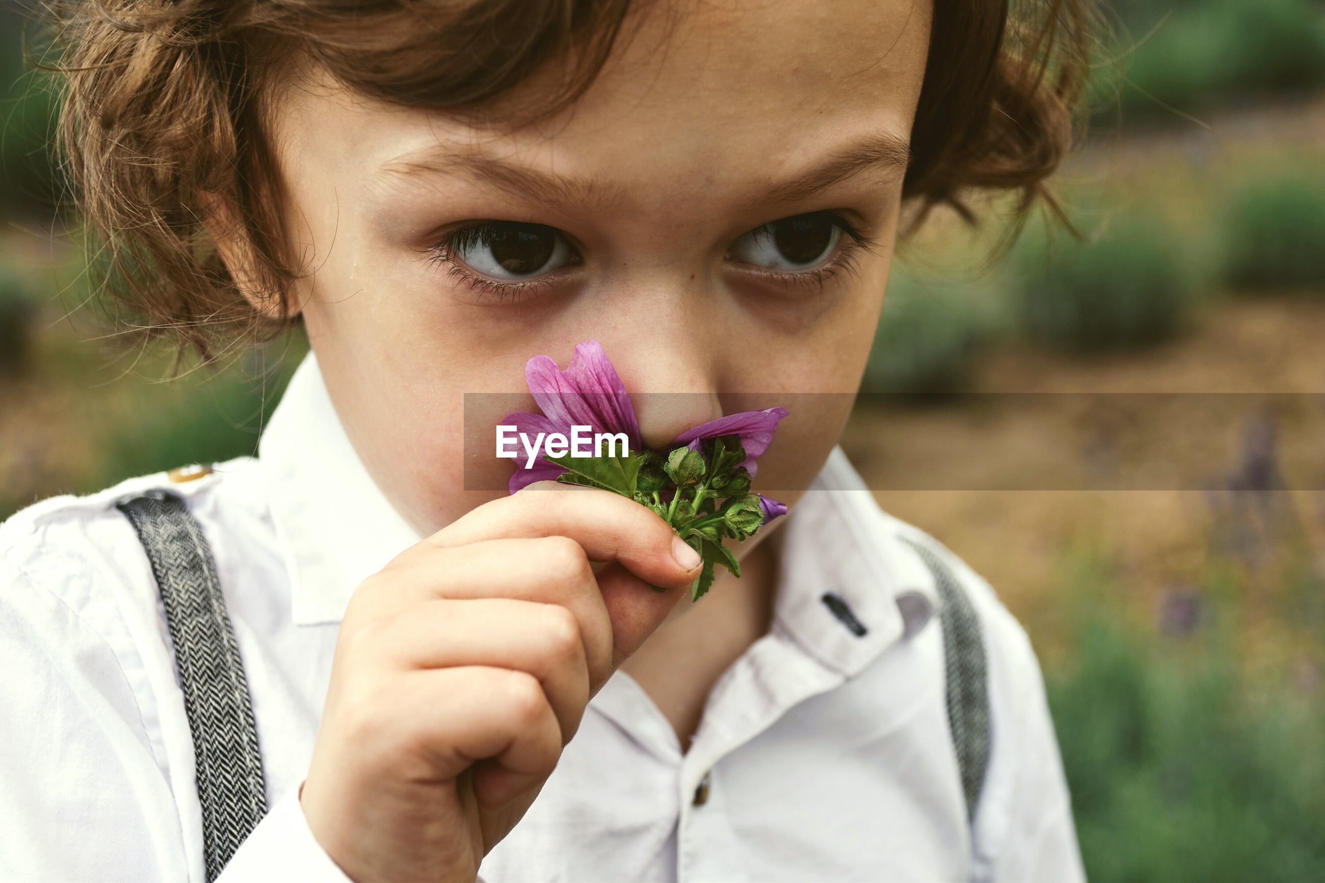 Close-up of boy smelling flower