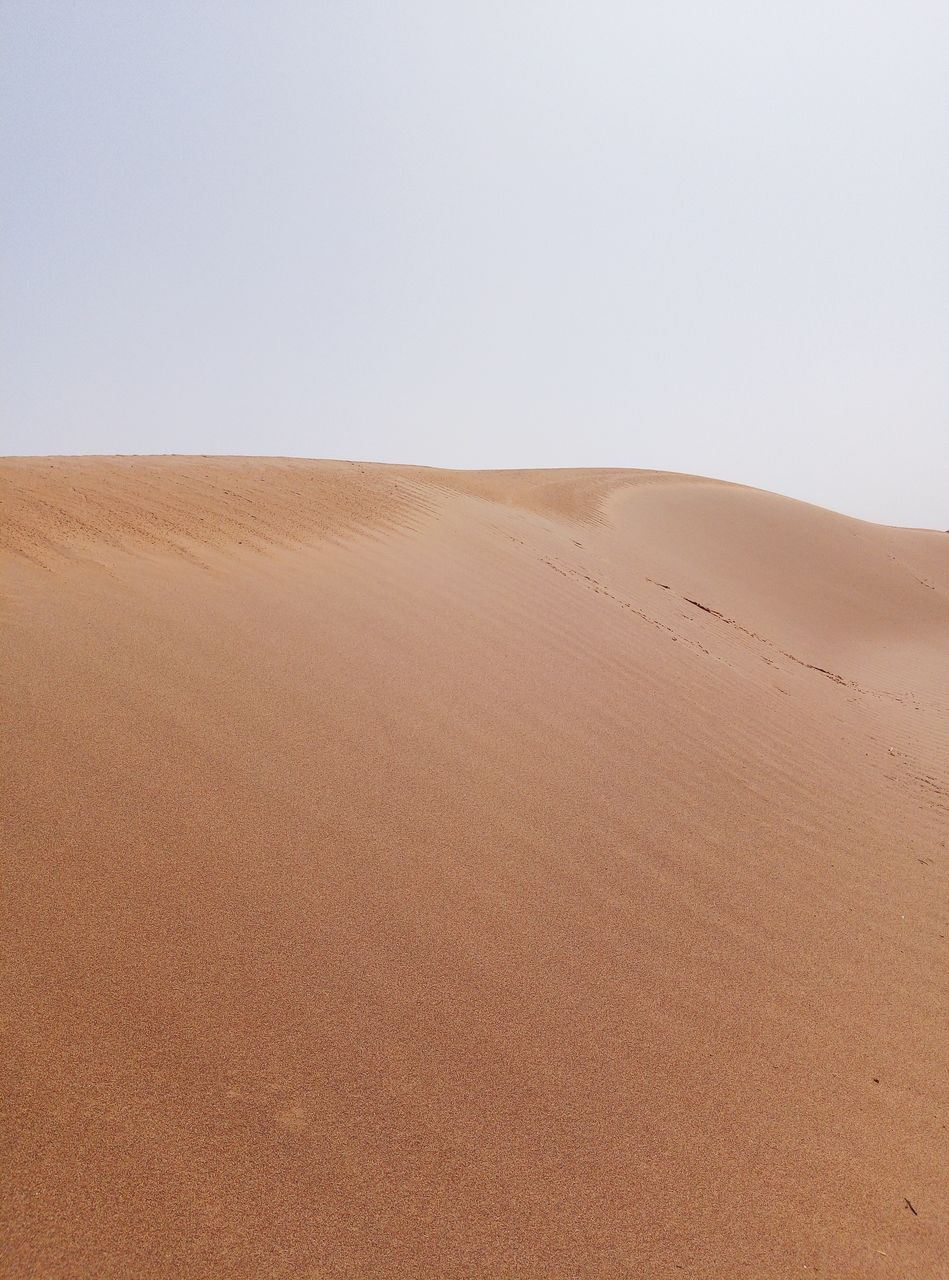 desert, sand, landscape, climate, scenics - nature, environment, land, tranquil scene, arid climate, sand dune, tranquility, sky, beauty in nature, clear sky, copy space, remote, nature, non-urban scene, brown, day, no people, outdoors, atmospheric