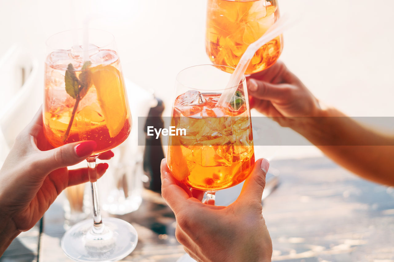 Cropped Hands Of Women Holding Alcoholic Drinks