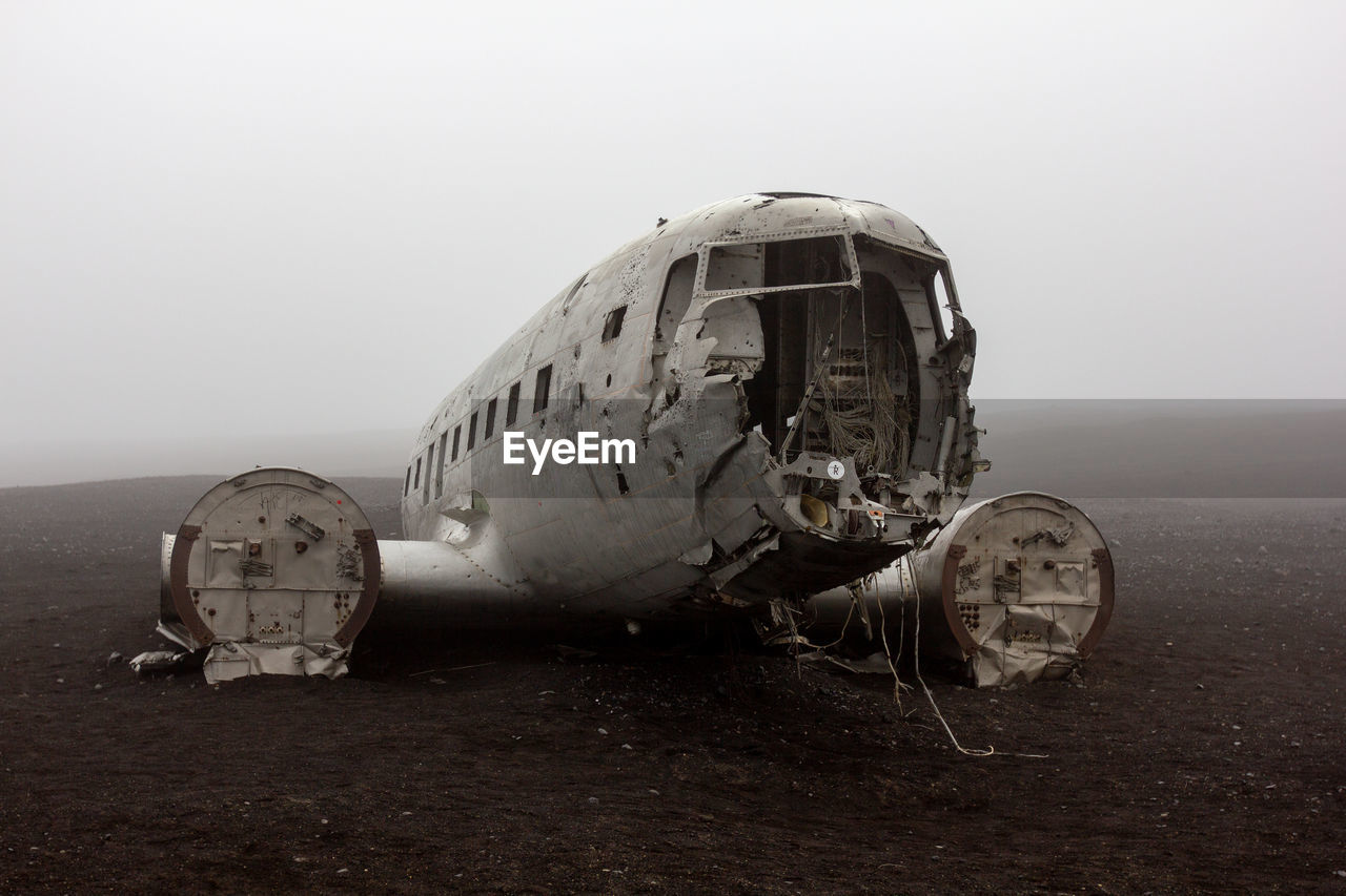 abandoned, air vehicle, airplane, damaged, transportation, sky, land, obsolete, mode of transportation, nature, crash, day, broken, accidents and disasters, destruction, history, deterioration, decline, travel, outdoors, ruined, demolished, navy