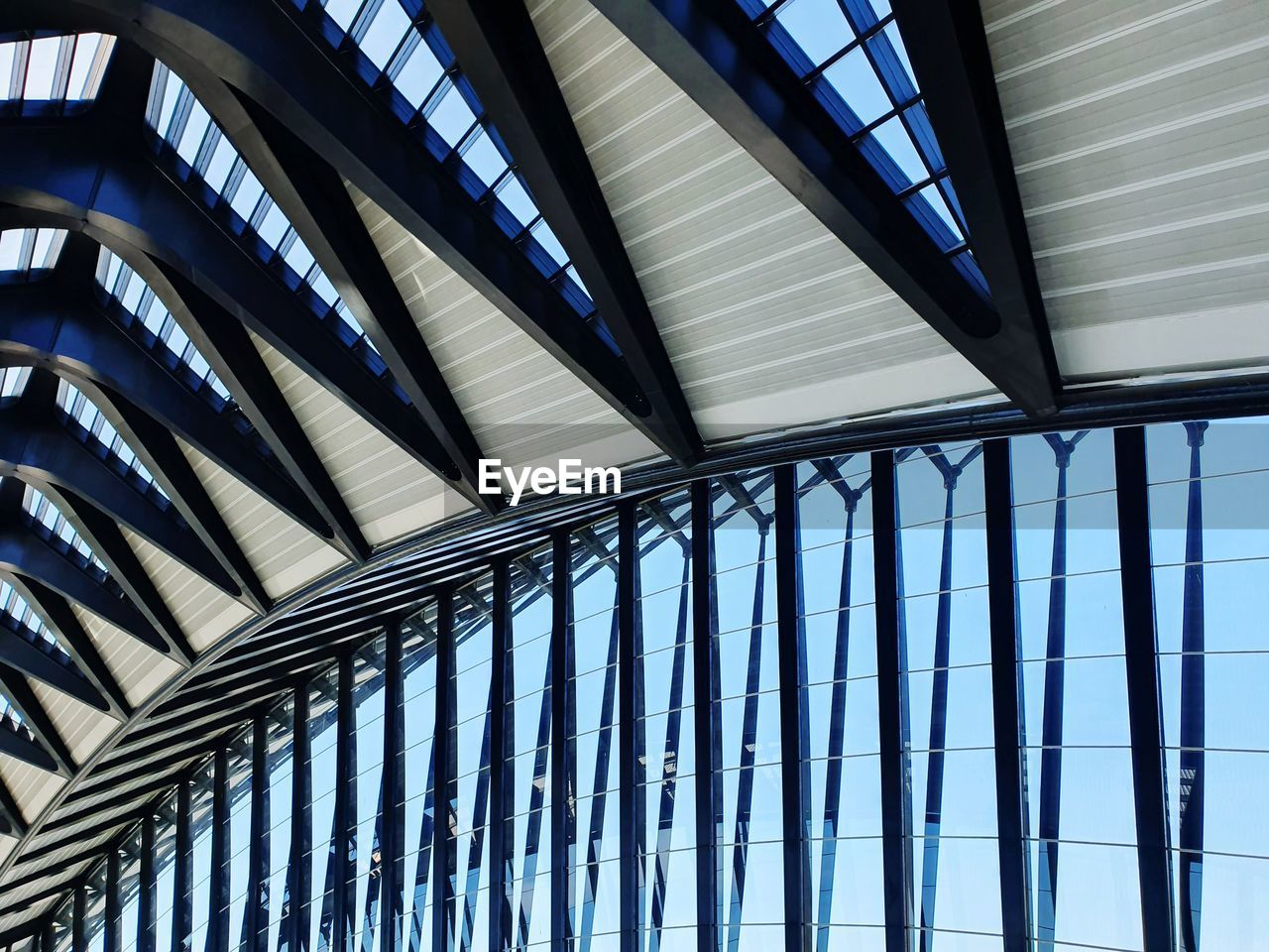 Low angle view of modern ceiling at station