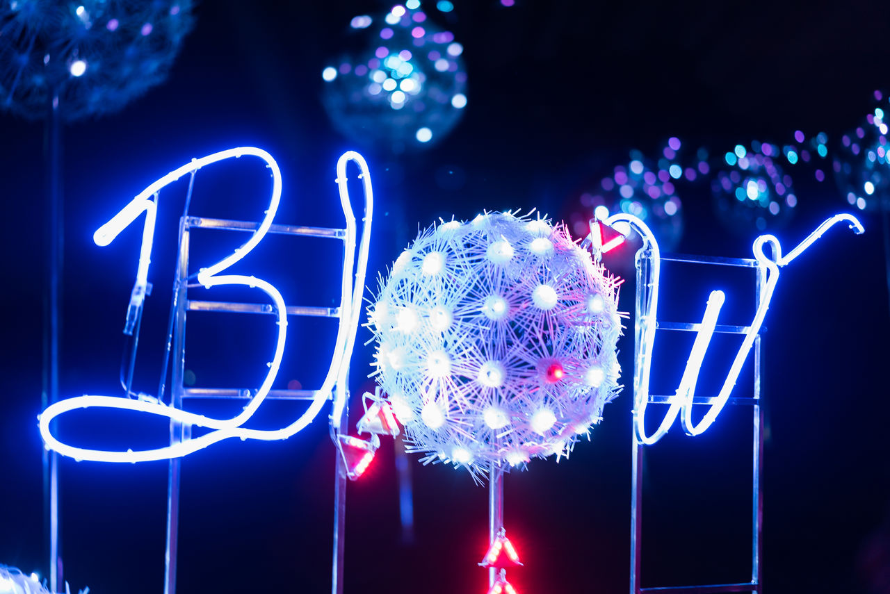 night, illuminated, lighting equipment, no people, communication, neon, blue, outdoors, close-up, christmas decoration, nature