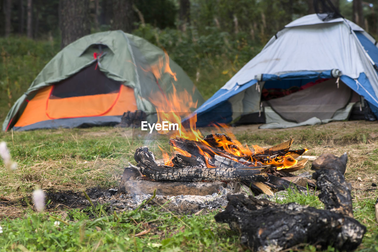 burning, camping, fire, flame, fire - natural phenomenon, heat - temperature, tent, bonfire, nature, land, campfire, glowing, log, wood - material, adventure, outdoors, environment, day, firewood, field, wood
