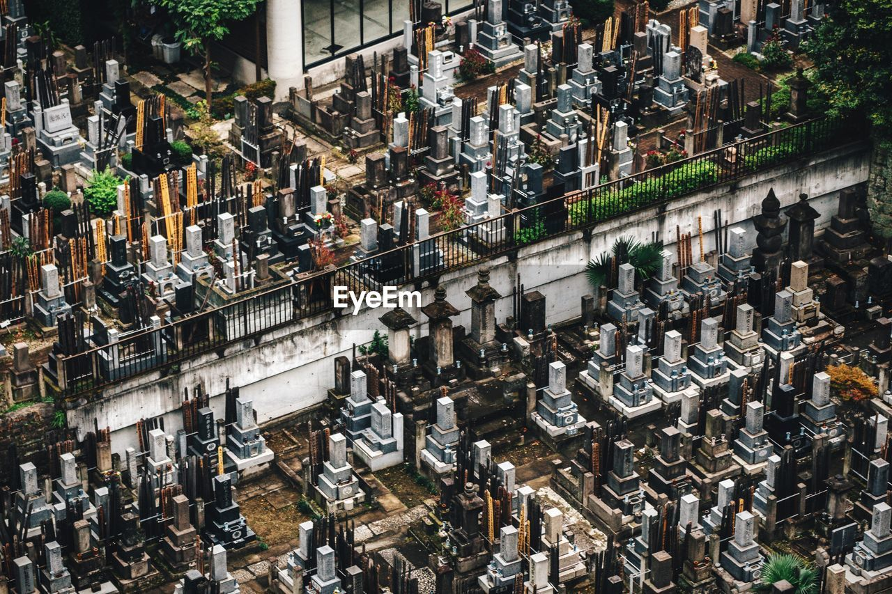 High Angle View Of Tombstones At Cemetery