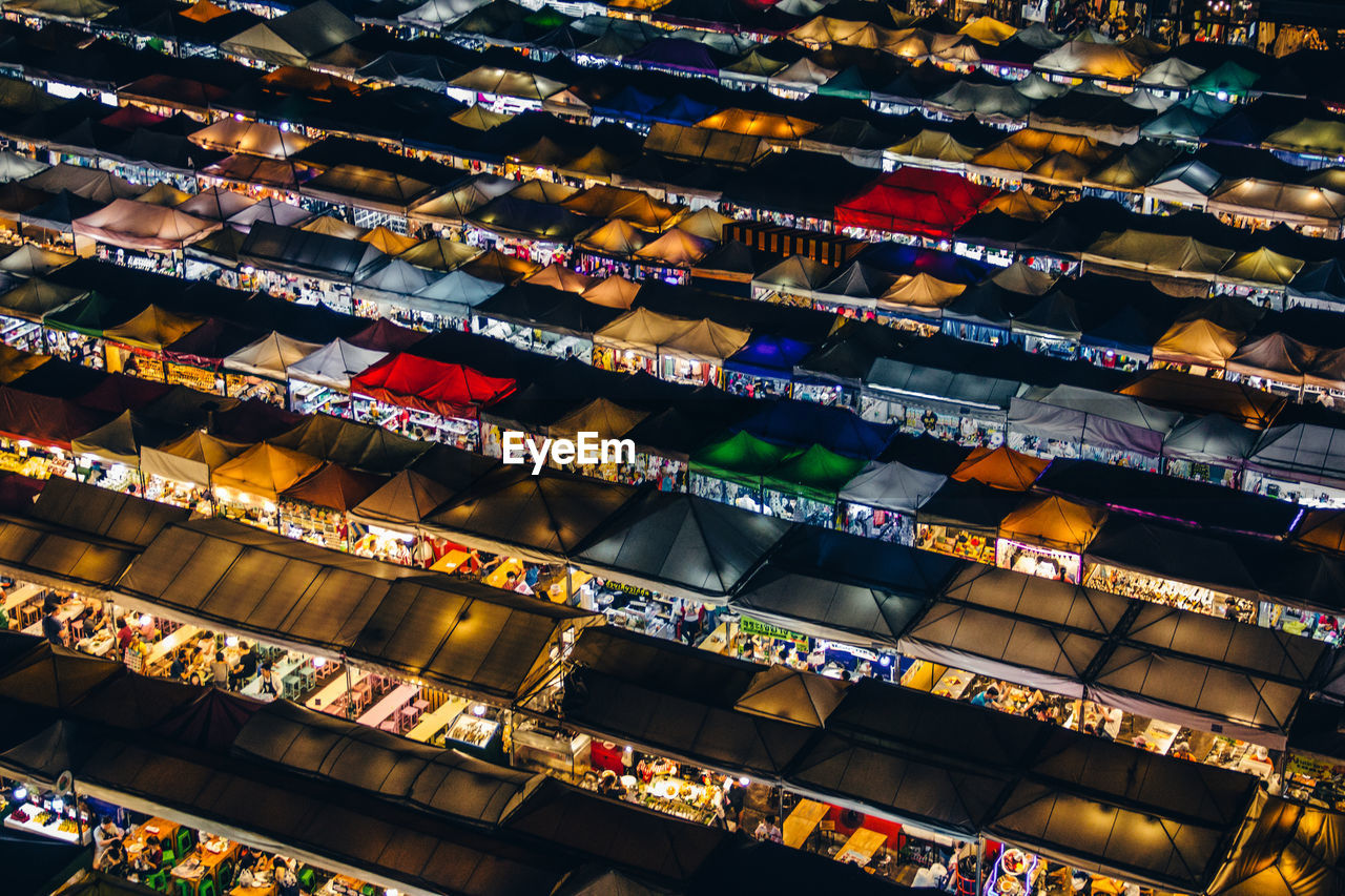 Aerial view of market stall at night