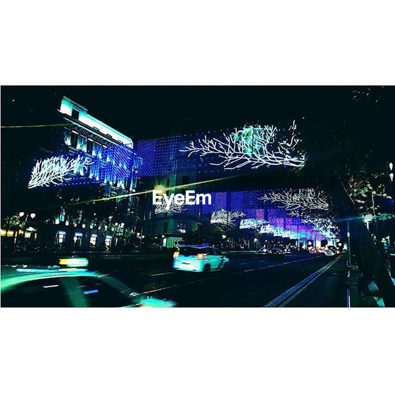illuminated, night, car, outdoors, architecture, no people, city