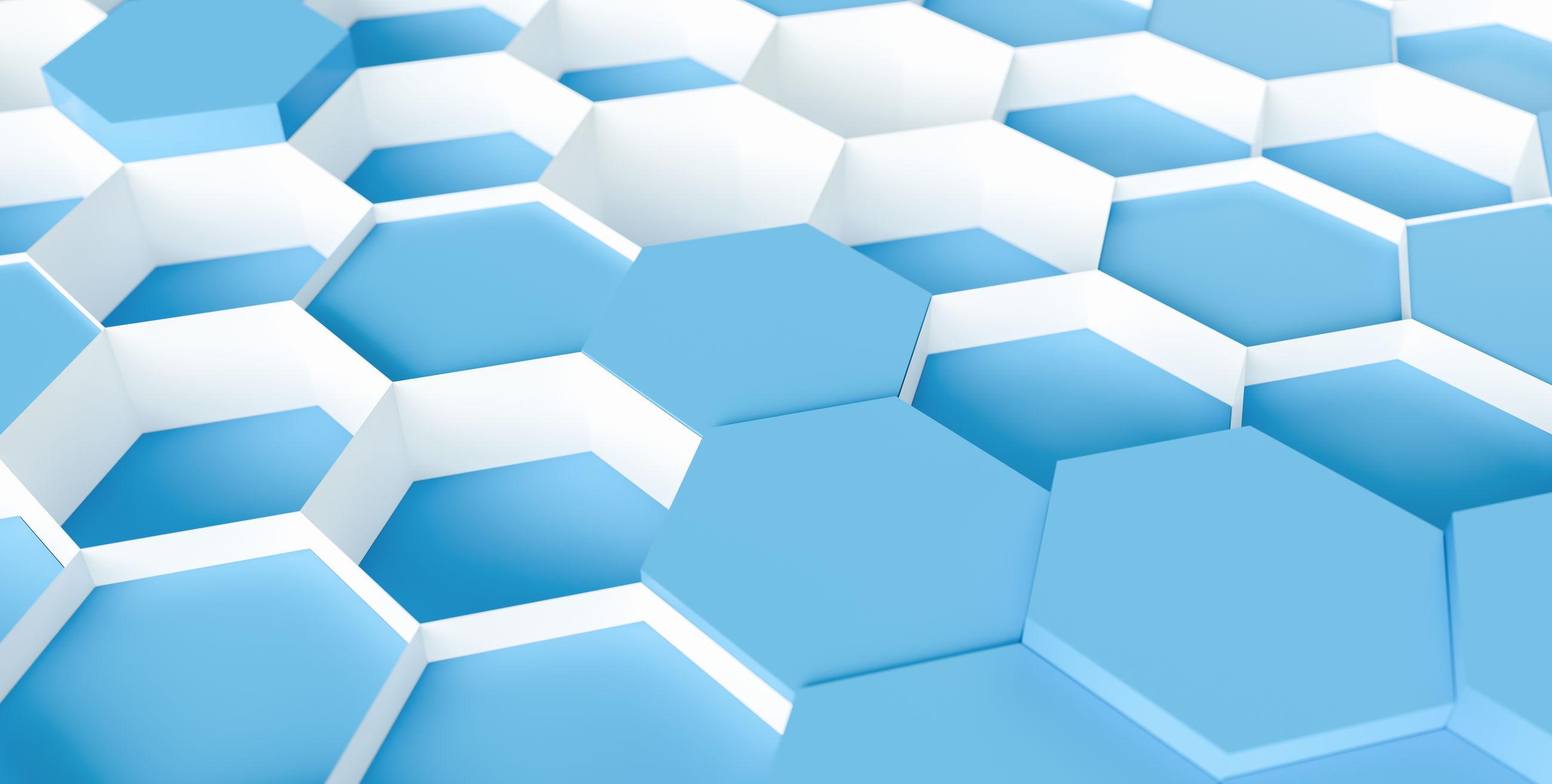Full frame shot of blue hexagon shape