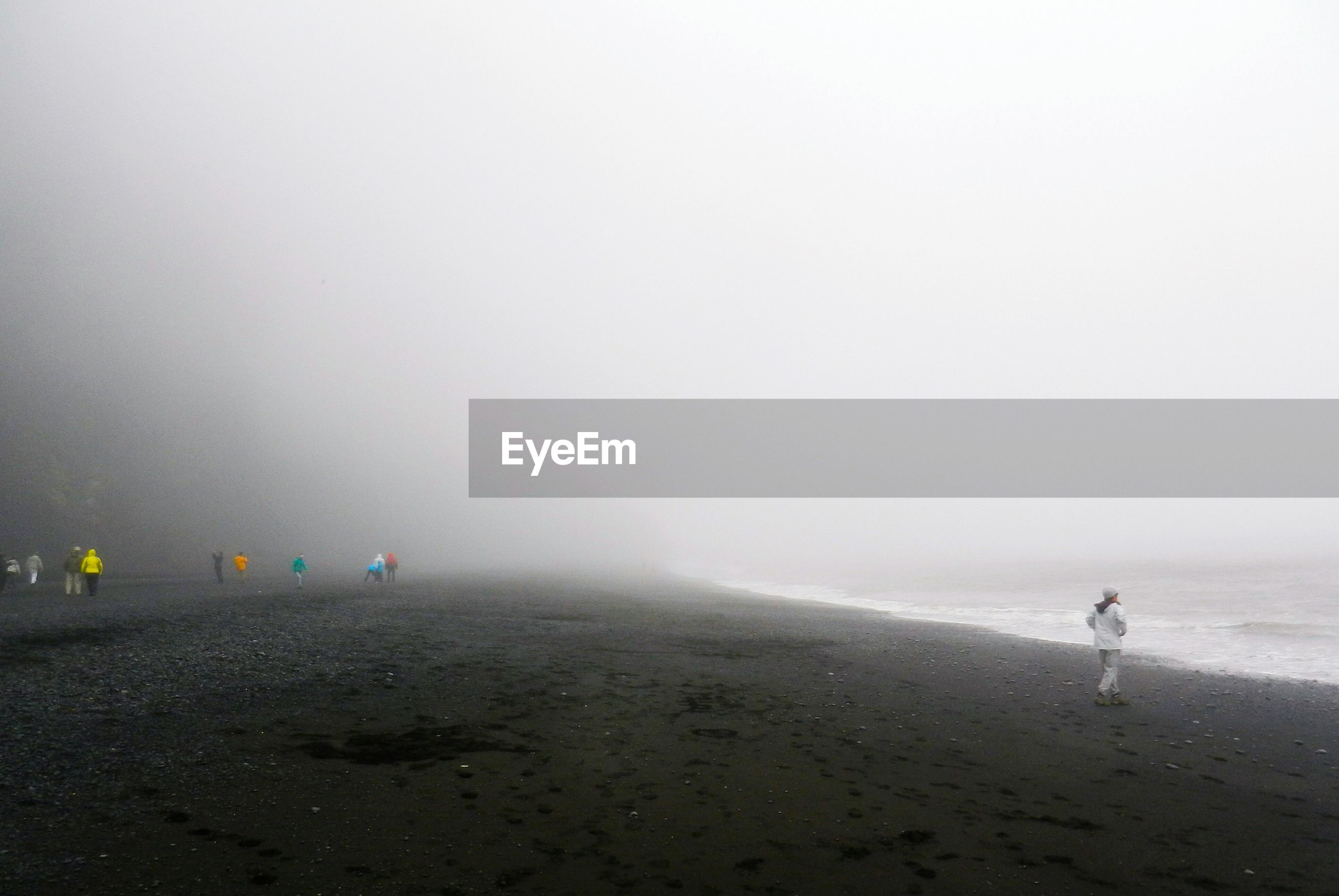 People at beach during foggy weather