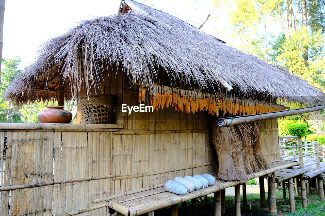 thatched roof, architecture, built structure, hanging, day, shelter, roof, building exterior, outdoors, no people, food, nature, freshness