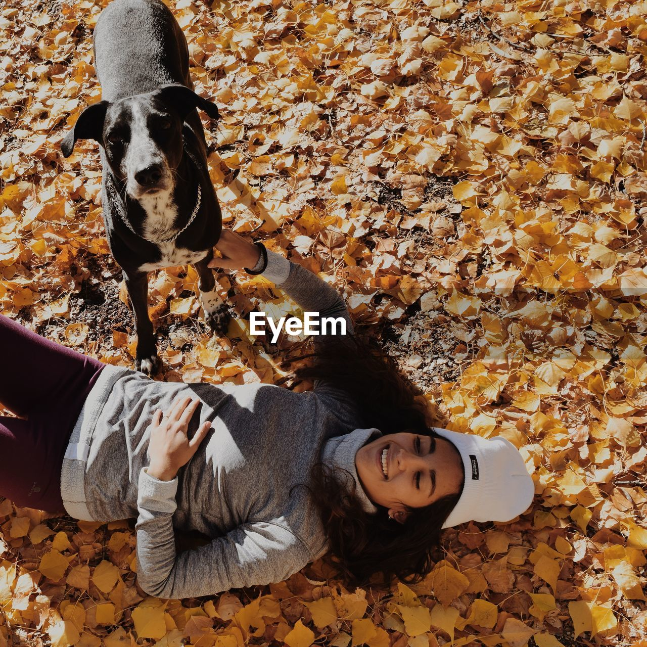 Smiling young woman lying on leaves by dog
