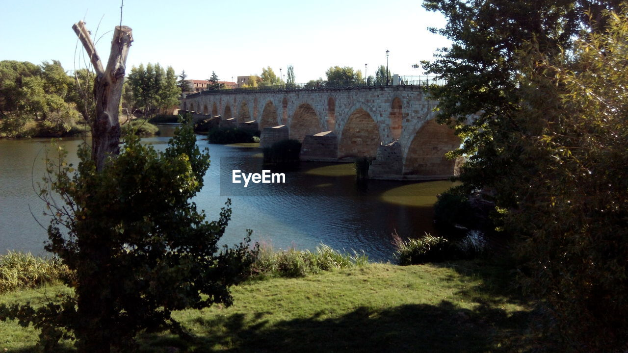 bridge - man made structure, architecture, built structure, connection, tree, river, arch, water, day, outdoors, bridge, no people, growth, covered bridge, nature, clear sky, sky