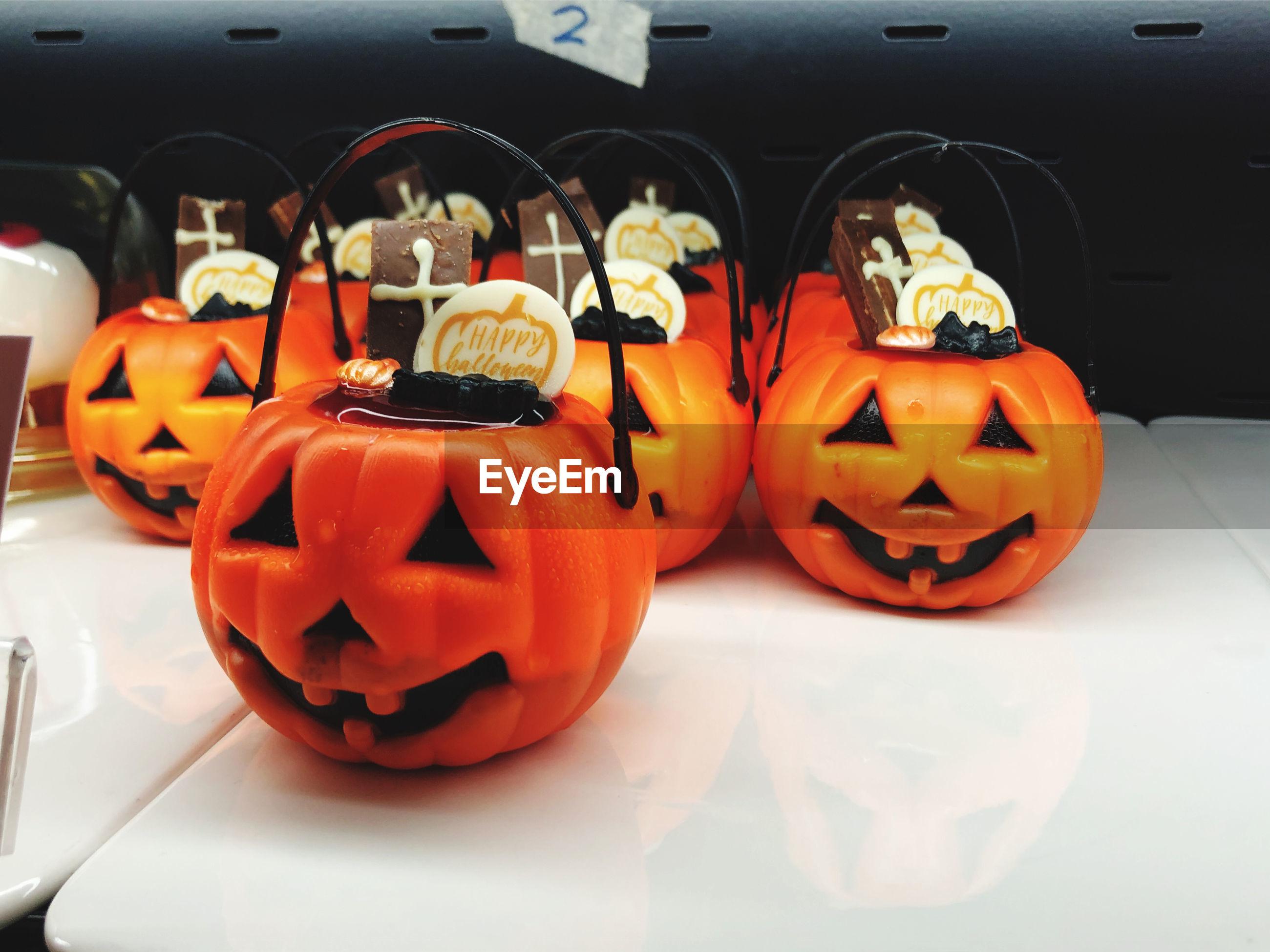 Close-up of pumpkin on pumpkins