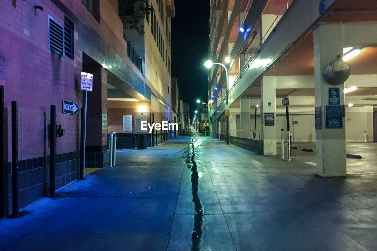 illuminated, built structure, night, architecture, empty, building exterior, the way forward, no people, outdoors