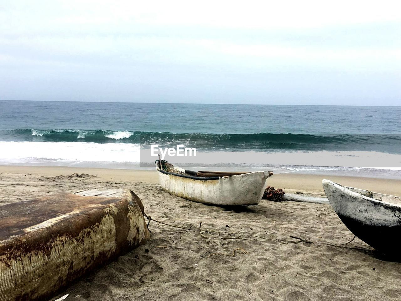 Abandoned Boats On Beach