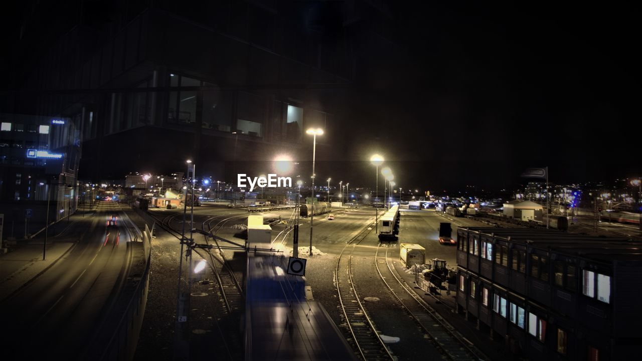 night, illuminated, transportation, street, speed, road, city, high street, outdoors, architecture, no people, cityscape