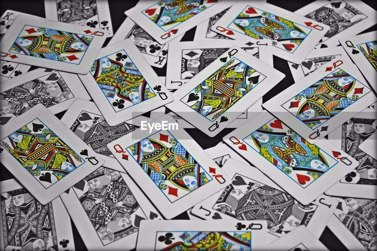 Full Frame Shot Of Playing Cards On Table