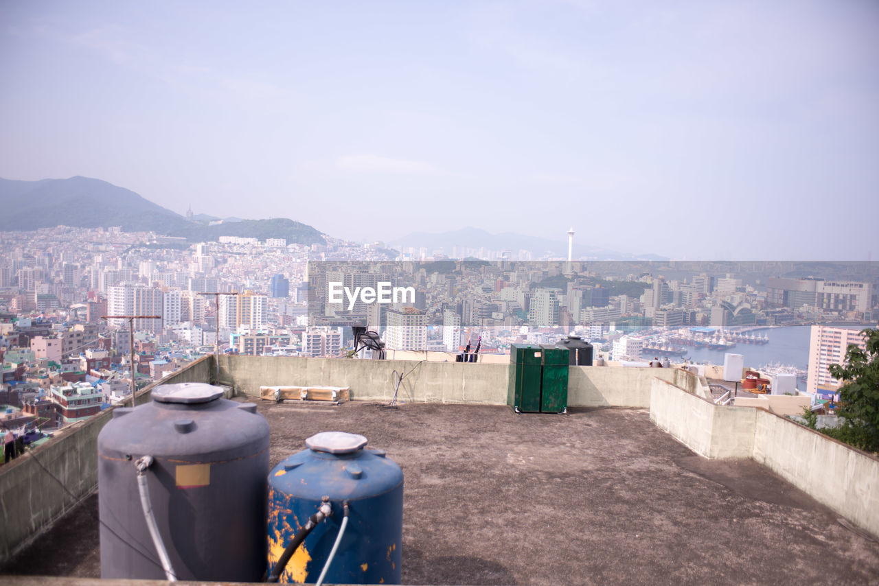 High angle view of cityscape during sunny day