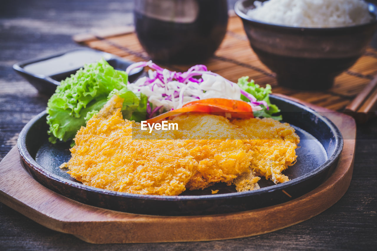 food and drink, food, ready-to-eat, freshness, table, serving size, plate, bowl, still life, healthy eating, close-up, wellbeing, meal, indoors, no people, vegetable, meat, rice - food staple, household equipment, high angle view, temptation, crockery