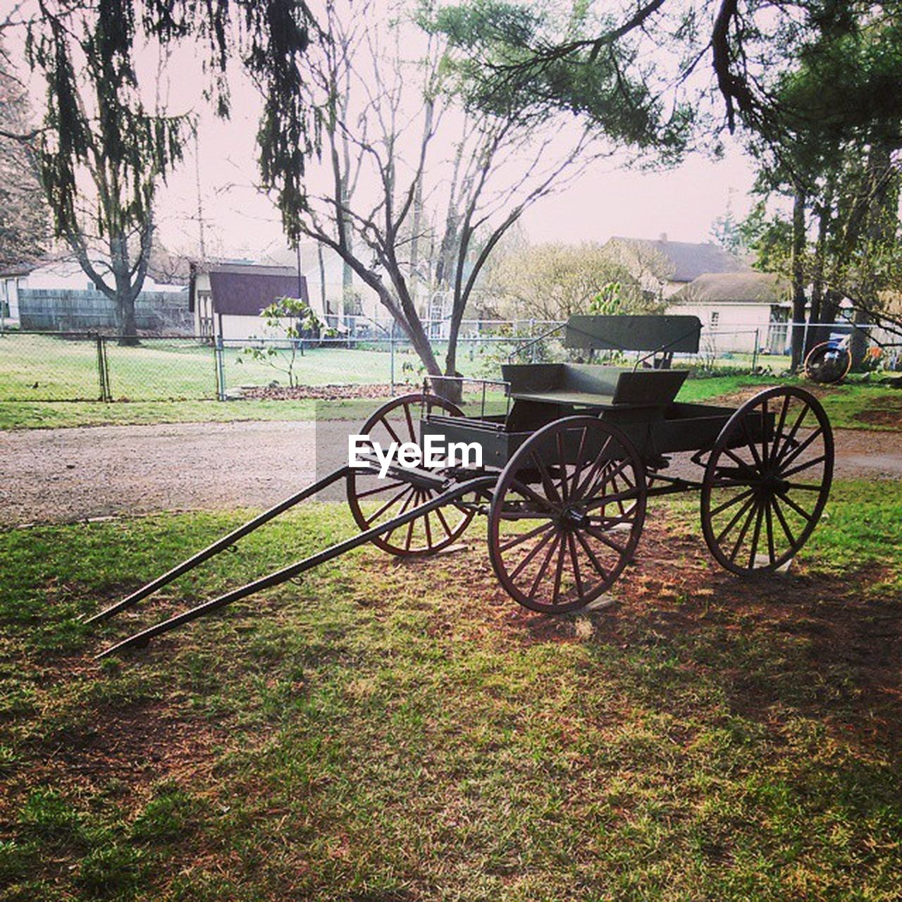 wheel, tree, grass, field, transportation, weapon, nature, history, wagon wheel, day, land vehicle, cannon, no people, horse cart, water, lake, stationary, outdoors, beauty in nature, canon
