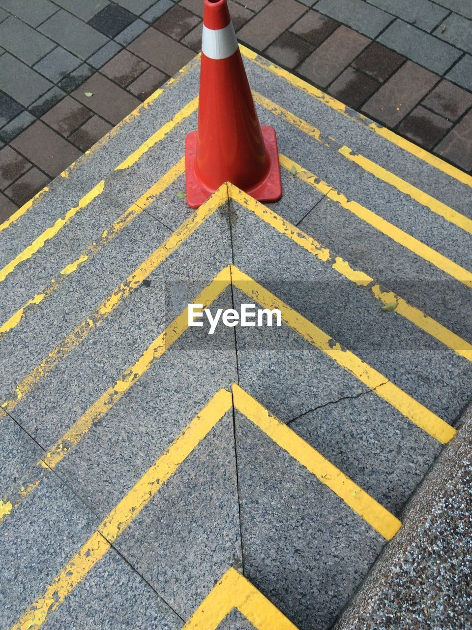 High angle view of traffic cone on steps