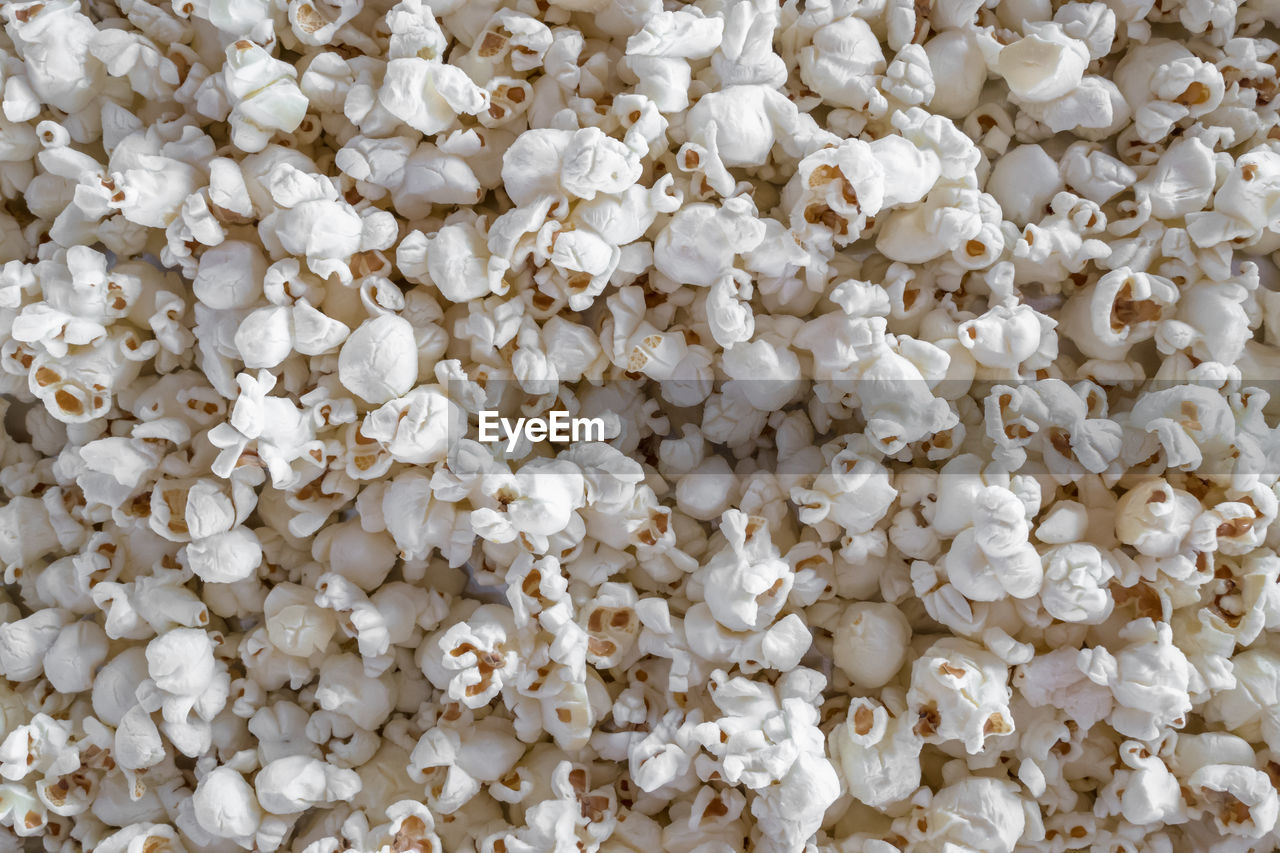 full frame, white color, popcorn, backgrounds, abundance, large group of objects, food, food and drink, no people, freshness, close-up, indoors, day, directly above, ingredient, repetition, snack, high angle view, cream colored, still life