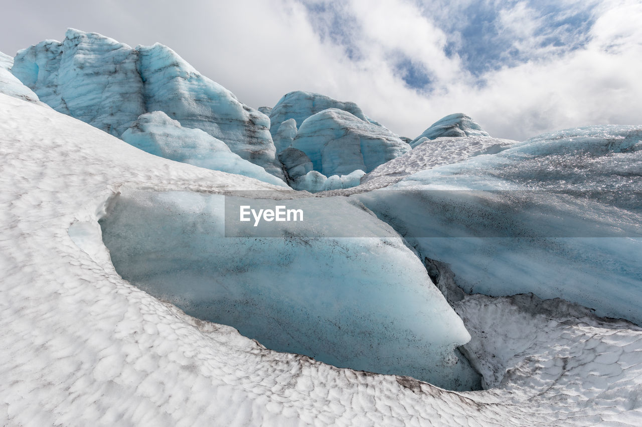 cold temperature, ice, sky, glacier, frozen, winter, snow, landscape, cloud - sky, beauty in nature, environment, nature, day, white color, no people, tranquility, tranquil scene, iceberg, scenics - nature