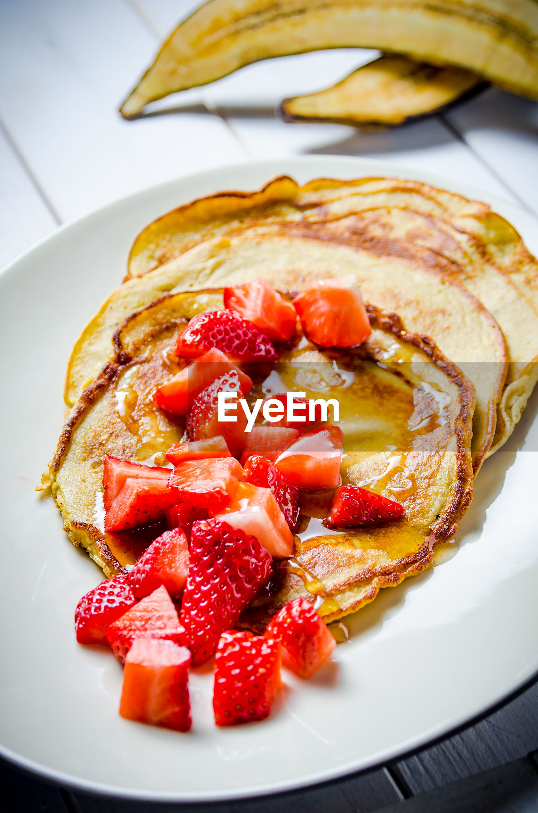 High angle view of crepes served in plate