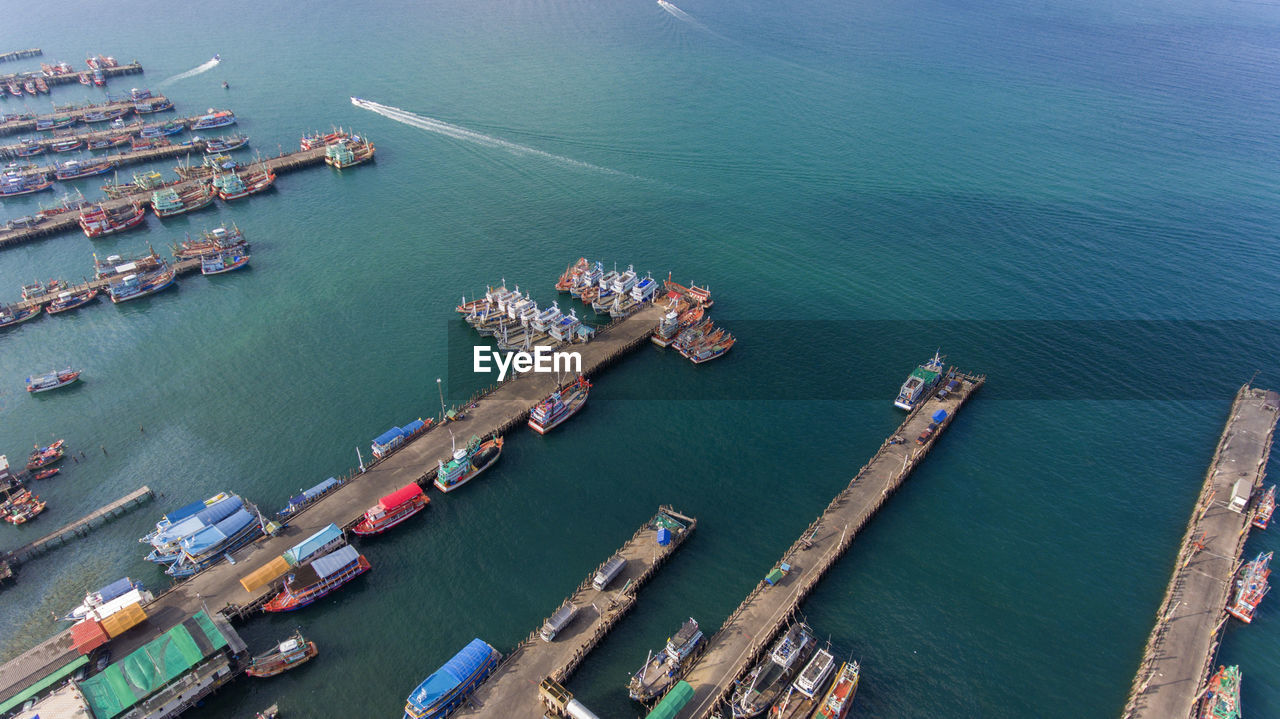 High angle view of commercial dock at sea