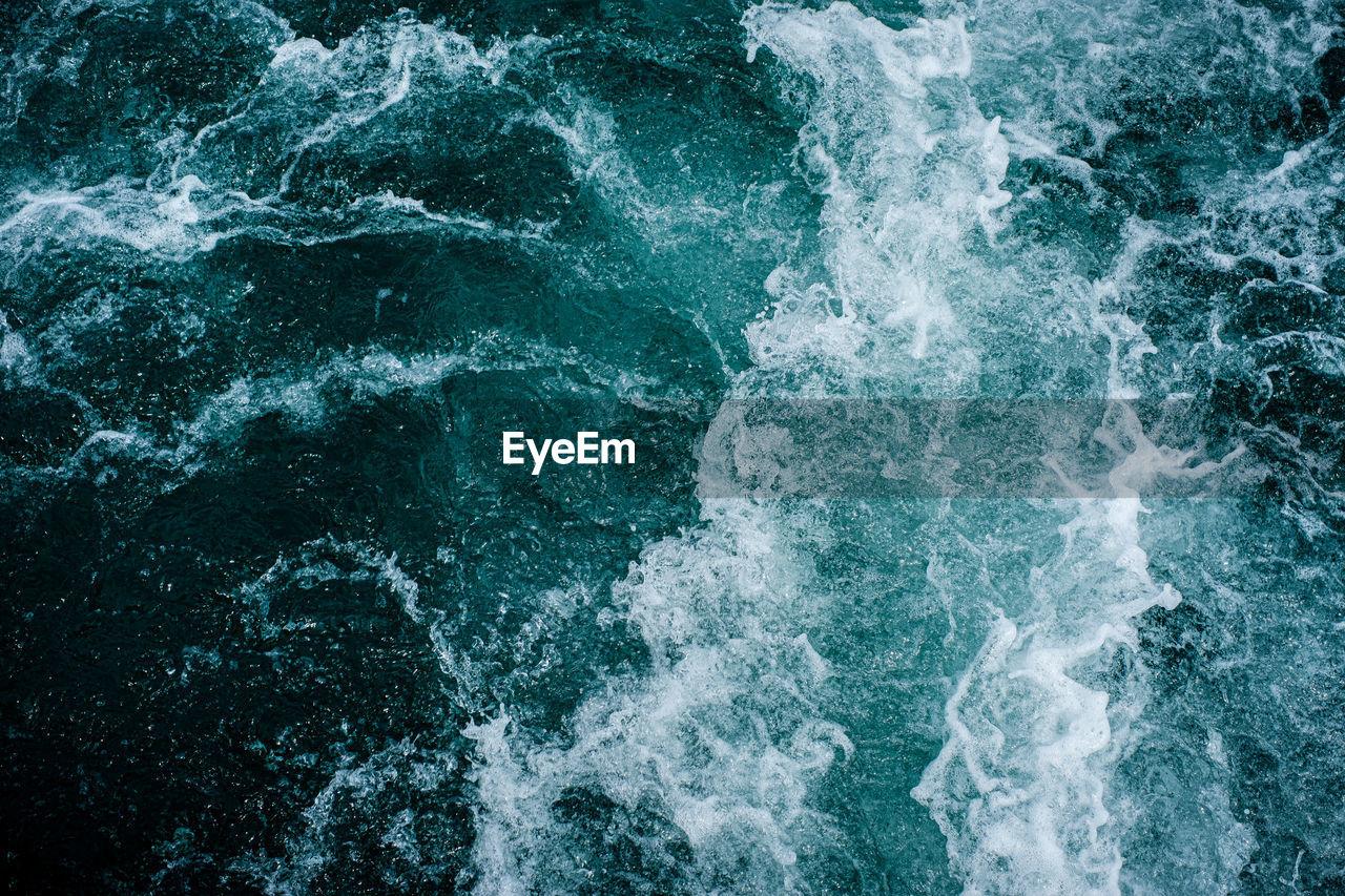 Full frame shot of water splashing in sea