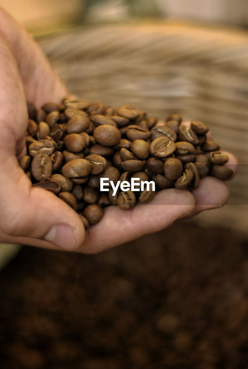 human hand, food and drink, hand, one person, food, freshness, human body part, holding, coffee, roasted coffee bean, coffee - drink, real people, brown, focus on foreground, large group of objects, close-up, high angle view, body part, unrecognizable person, finger, hands cupped